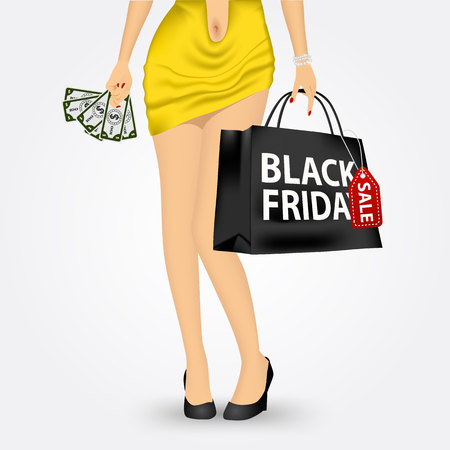 unrecognizable: vector illustration of unrecognizable woman in yellow dress holding a red shopping bag with black friday sale text message isolated over white background