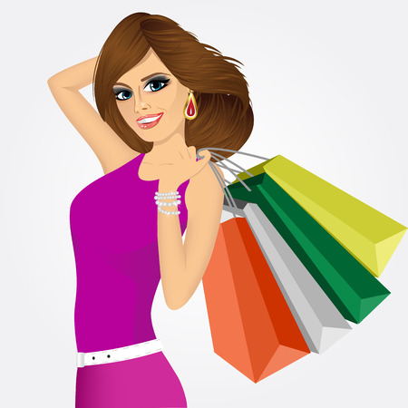 consumerism: portrait of smiling young friendly woman with multicolored shopping bags over white background -  consumerism, sale, happiness and people concept