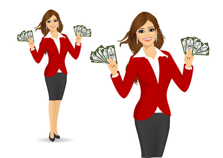 businesswoman suit: young happy businesswoman in red suit holding money in both hands isolated over white background
