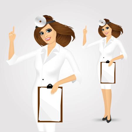 pointing up: ritratto di medicina donna medico con appunti rivolta verso l'alto isolato su sfondo bianco