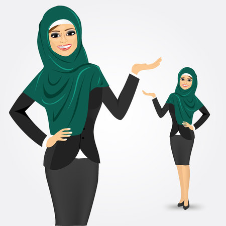 portrait of happy modern arabic business woman showing something isolated over white background Vectores