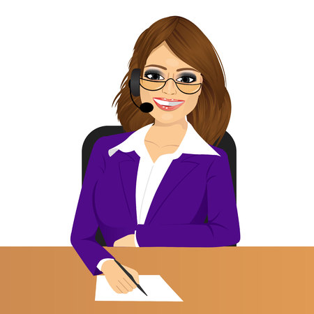 taking notes: portrait of happy smiling female customer support phone operator with glasses taking note isolated over white background
