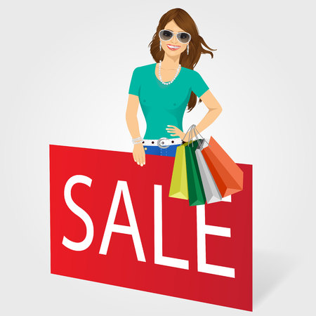 rood teken: woman with shopping bags holding red sign with sale text message isolared over white background