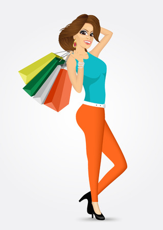 consumerism: full body of smiling young woman with multicolored shopping bags over white background -  consumerism, sale, happiness and people concept