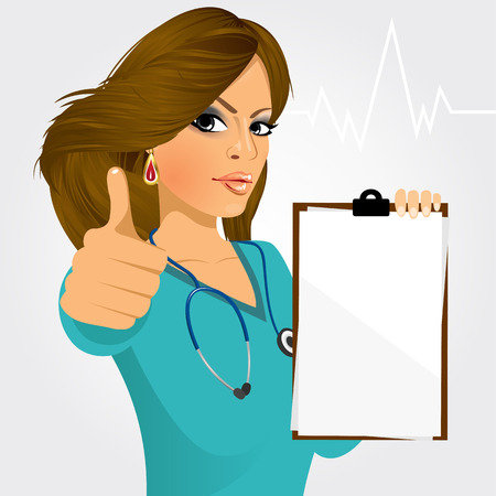 indian professional: nurse, doctor holding a blank medical clipboard and giving thumbs up on white background Illustration