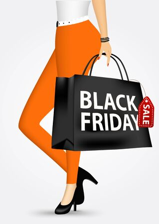 black woman: vector illustration unrecognizable woman in orange pants holding shopping bag with black friday sale text message isolated on white background