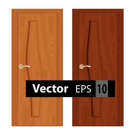 wooden doors: cerca de las puertas de madera de entrada cerrados sobre un fondo blanco Vectores