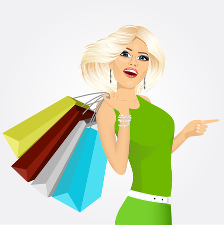 satisfied customer: portrait of young smiling blonde woman with multicolored shopping bags pointing, isolated on white background Illustration