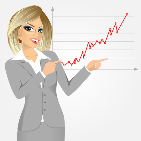 stockmarket chart: Young beautiful caucasian businesswoman pointing at growth graph