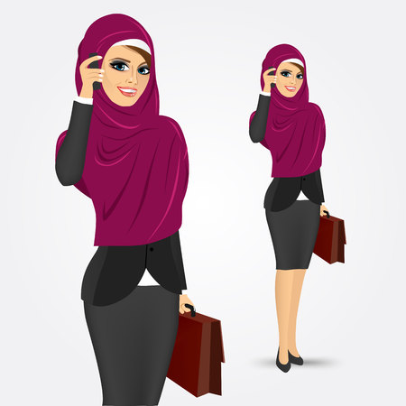 phone and call: portrait of modern pretty young muslim woman with briefcase talking on the phone