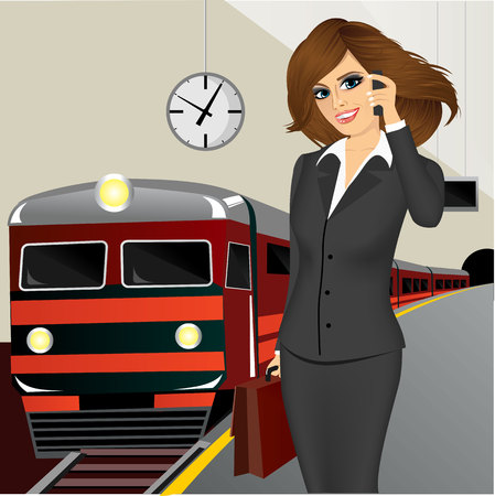 black lady talking: illustration of  businesswoman with briefcase talking on the phone and waiting for the train