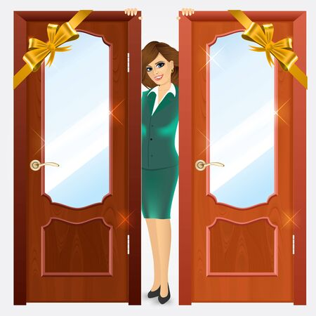 wooden doors: close up of closed entrance wooden doors and smiling woman standing between them on a white background