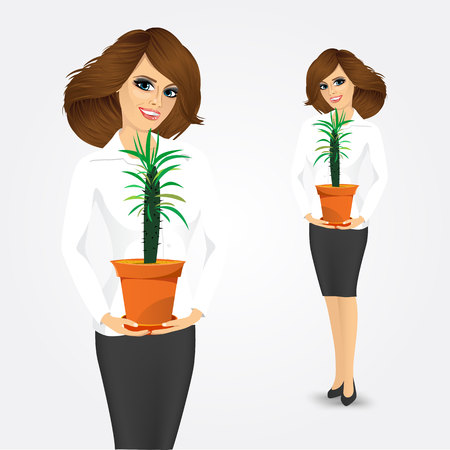 offiice: smiling business woman holding pachypodium cactus in a pot isolated on white background