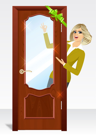 woman behind: vector illustration of beautiful woman behind the door with green bow showing ok sign Illustration