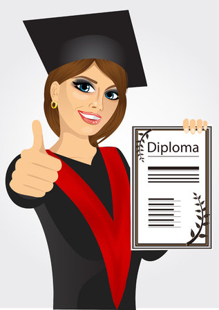academic gown: portrait of graduating student girl in an academic gown showing diploma and giving thumbs up isolated over white background