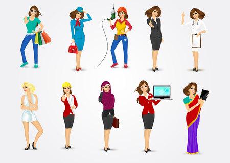 профессий: Набор из 10 профессий Иллюстрация