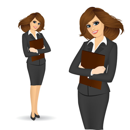 portrait of smiling business woman with paper folder isolated over white background Ilustração