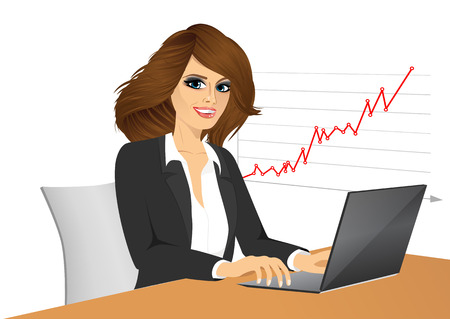 woman laptop: portrait of young pretty business woman with laptop in office Illustration