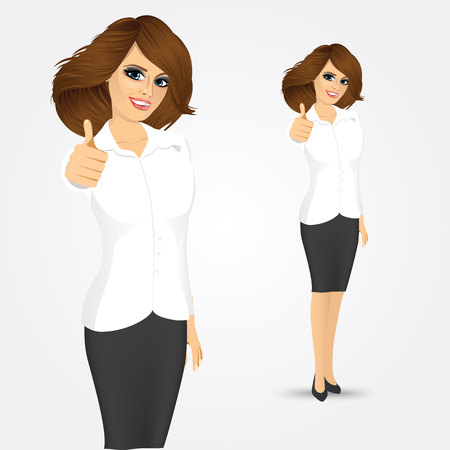 Happy smiling businesswoman with thumbs up gesture isolated over white background