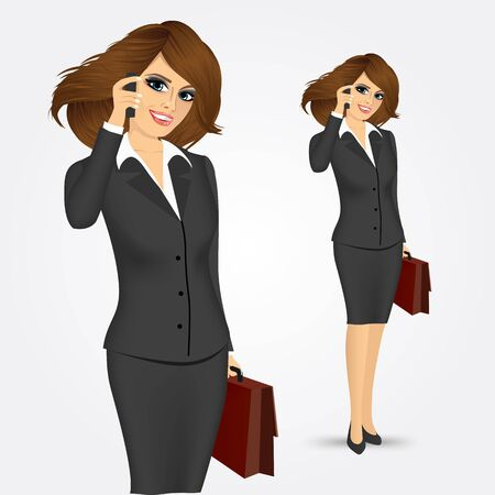 business phone: portrait of businesswoman with briefcase talking on the phone isolated over white background