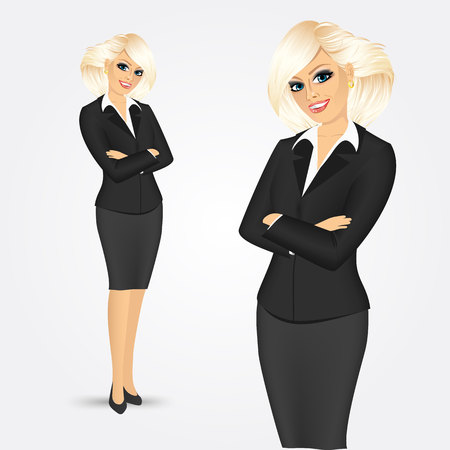 folded hands: portrait of beautiful blonde woman standing with arms folded