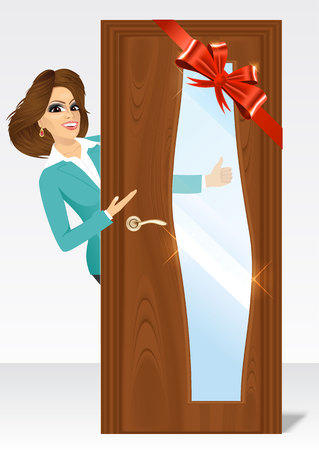 closed ribbon: vector illustration of beautiful woman behind the door giving thumbs up and showing something