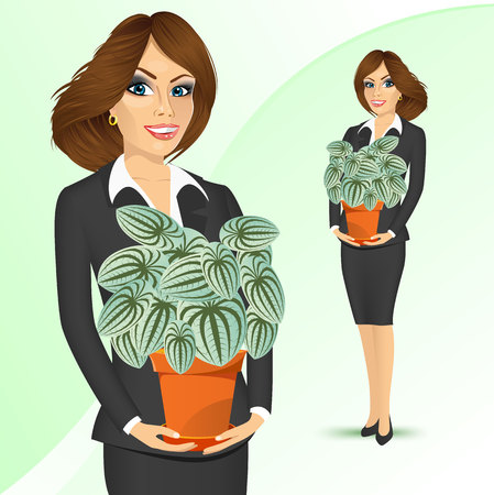 offiice: portrait of smiling business woman holding peperomia marmorata plant in a pot isolated on white background Illustration