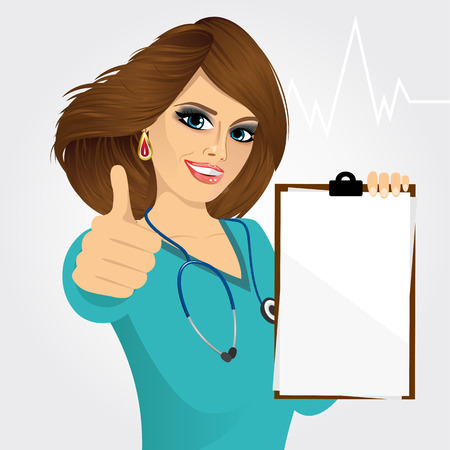 medical clipboard: smiling nurse or female doctor holding a blank medical clipboard and giving thumbs up on white background
