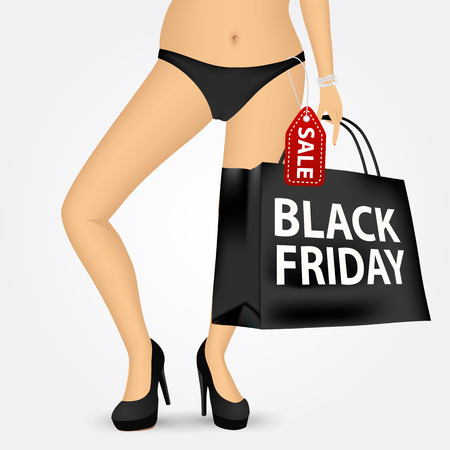 thongs: woman legs wearing thongs in high heels holding shopping bag with black friday sale text message isolated on white background Illustration