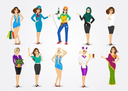 woman pointing: set of 10 professions , eps10 vector format