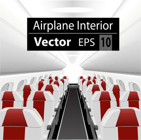 modern interior: modern interior of the passenger airplane with many empty red seats Illustration