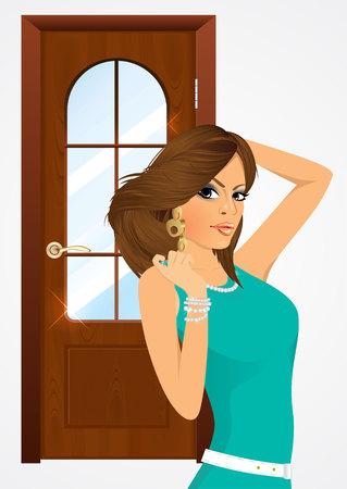 woman standing: elegant glamour woman standing near the door Illustration