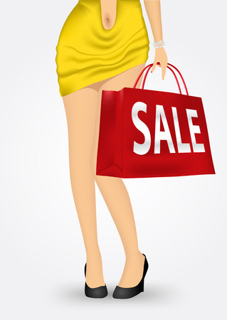 unrecognizable person: illustration of unrecognizable woman in yellow dress and high heels holding a red shopping bag with sale text message isolated over white background