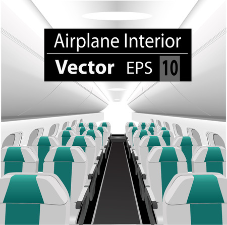 modern interior: modern interior of the passenger airplane with many empty seats Illustration