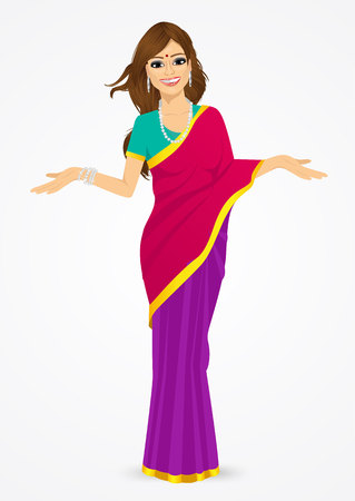 sari: portrait of traditional indian woman showing something  isolated over white background Illustration
