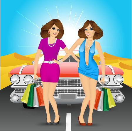 two roads: two women with shopping bags standing near red car in the middle of the desert Illustration