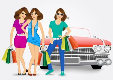 three women with shopping bags standing near red car isolated over white background