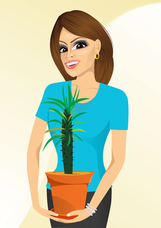 offiice: smiling woman holding Pachypodium cactus in a pot isolated on white background Illustration