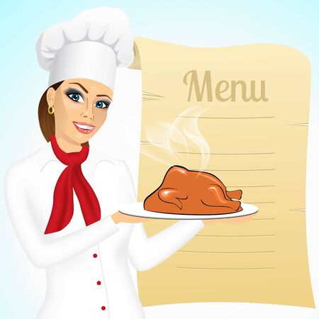 жареный: portrait of smiling female chef with christmas roasted turkey against blank retro scroll of menu