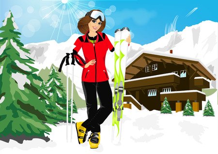 pretty woman enjoy her winter vacation in mountain resort  wearing ski suit, standing with mountain skis against chalet and happy smiling