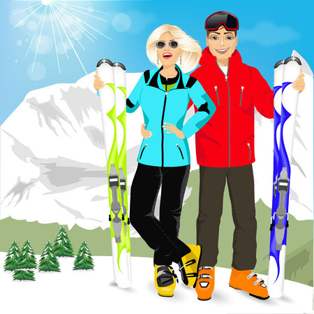 winter vacation: portrait of happy couple skiers standing on edge of mountain peaks on background of snowy mountains in ski resort Illustration