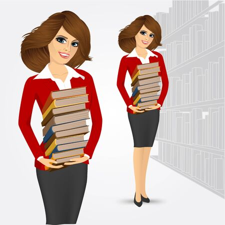 librarian: portrait of young happy librarian holding stack of books Illustration