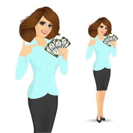 portrait of young female bank representative holding a fan of money in one hand and pointing at it with the other isolated over white background
