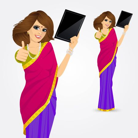 vrouw met tablet: portrait of traditional Indian woman showing a tablet computer and giving thumbs up isolated over white background