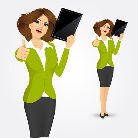 woman tablet: portrait of woman showing a tablet computer and giving thumbs up isolated over white background Illustration