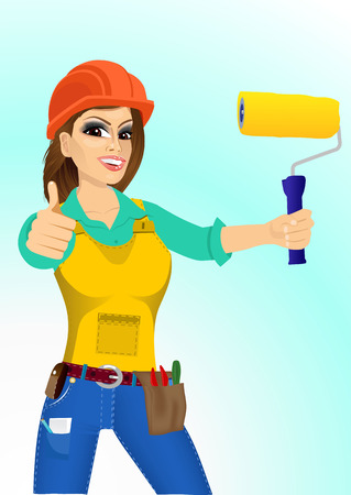 blue roller: portrait of plasterer woman with orange helmet holding a paint roller and giving thumbs up isolated over blue background Illustration