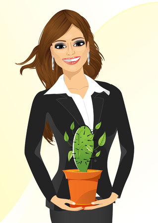 offiice: smiling business woman holding cactus in a pot isolated on white background