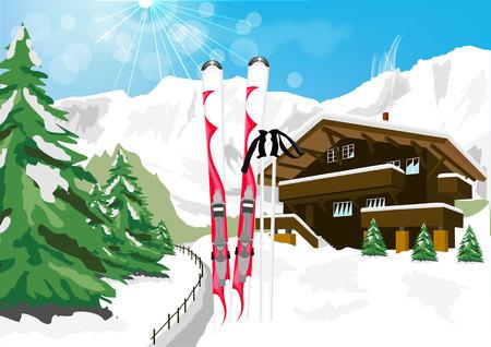vector illustratie van een prachtig winters landschap met sneeuw, ski's, skistokken, chalet en de bergen