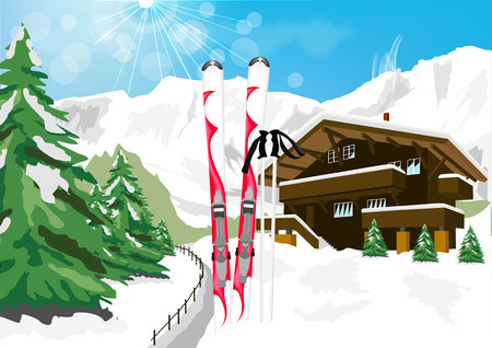 chalet: vector illustration of wonderful winter scenery with snow, skis, ski poles, chalet and mountains