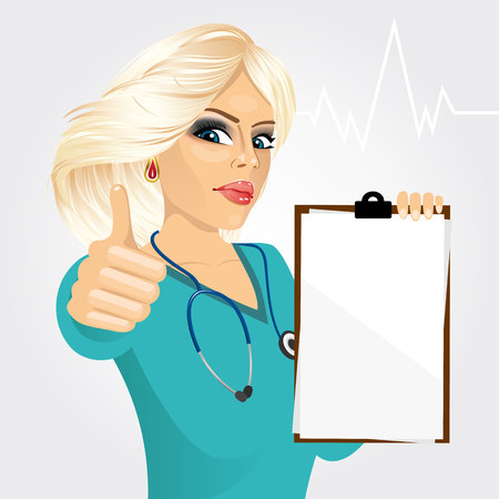 medical clipboard: blonde nurse or female doctor holding a blank medical clipboard and giving thumbs up on white background